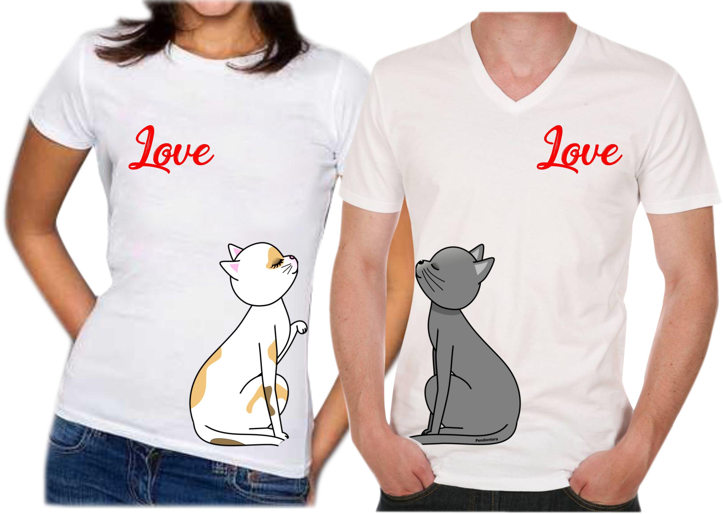 adce96f437e6e Camisetas para parejas love cat estampado publicidad jpg 2814x1999 Estampado  camisas para parejas